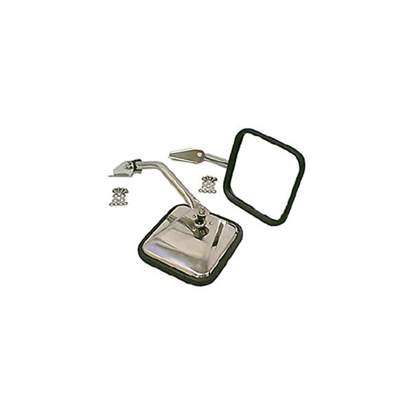 Side Mirror Kit, Stainless Steel by Rugged Ridge ('55-'86 Jeep CJ Models)