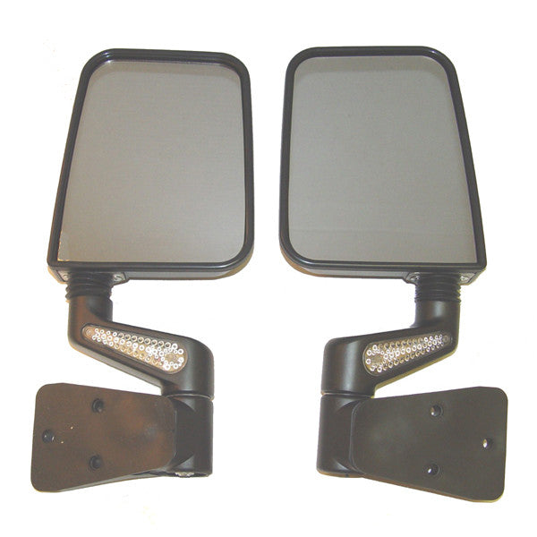 Heated Door Mirror Kit, LED Signals, Black by Rugged Ridge ('87-'02 Jeep Wrangler YJ, TJ)