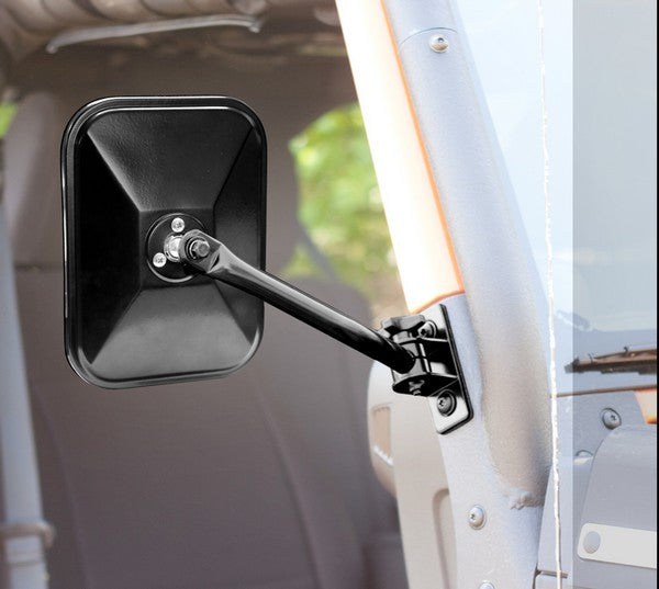 Quick Release Side Mirror, Black, Rectangular by Rugged Ridge ('97-'18 Jeep Wrangler TJ, JK)