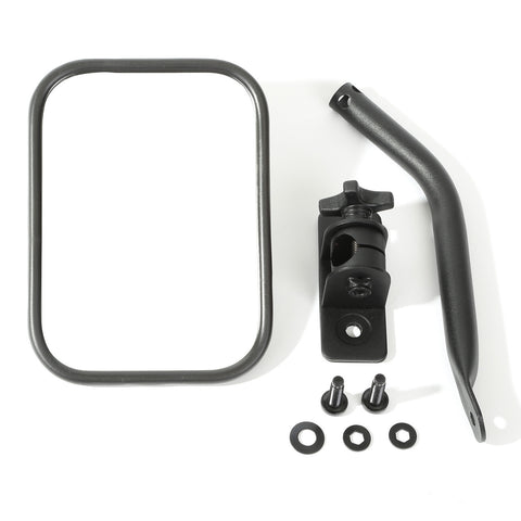 Quick Release Mirror, Textured Black, Pair, Rectangular by Rugged Ridge ('97-'18 Jeep Wrangler TJ, JK)