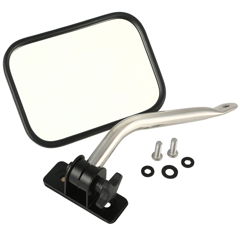 Quick Release Rectangle Mirror Relocation Kit, Stainless by Rugged Ridge ('97-'18 Jeep Wrangler TJ, JK)