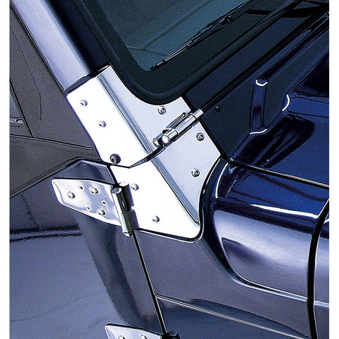 Windshield Hinges, Stainless Steel by Rugged Ridge ('97-'06 Jeep Wrangler TJ)