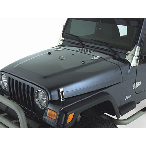 Complete Hood Kit, Satin Stainless Steel by Rugged Ridge ('98-'06 Jeep Wrangler TJ)