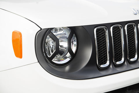 Headlight Euro Guards, Textured Black ('15-'18 Jeep Renegade BU)