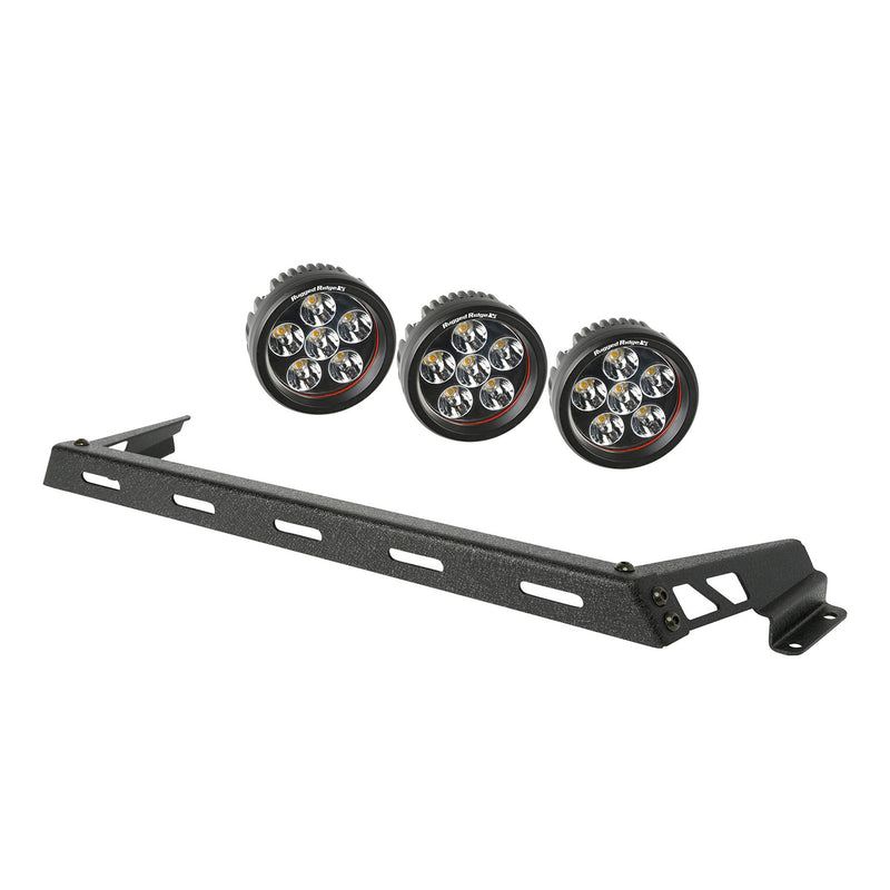 Hood Light Bar Kit, Textured Black, 3 Round LEDs by Rugged Ridge ('07-'18 Jeep Wrangler JK)