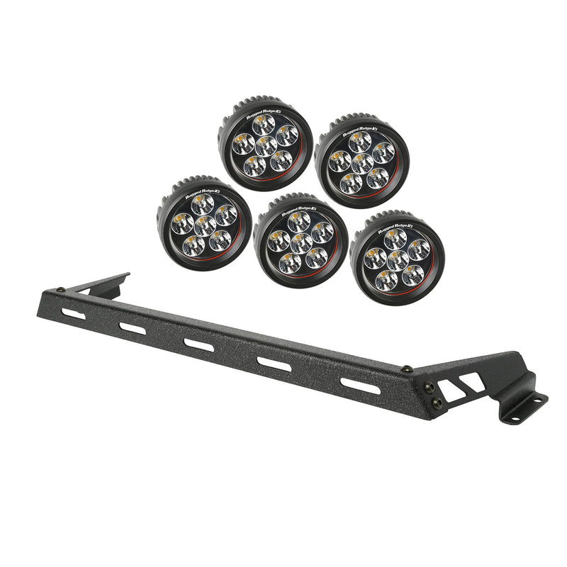 Hood Light Bar Kit, Textured Black, 5 Round LEDs by Rugged Ridge ('07-'18 Jeep Wrangler JK)
