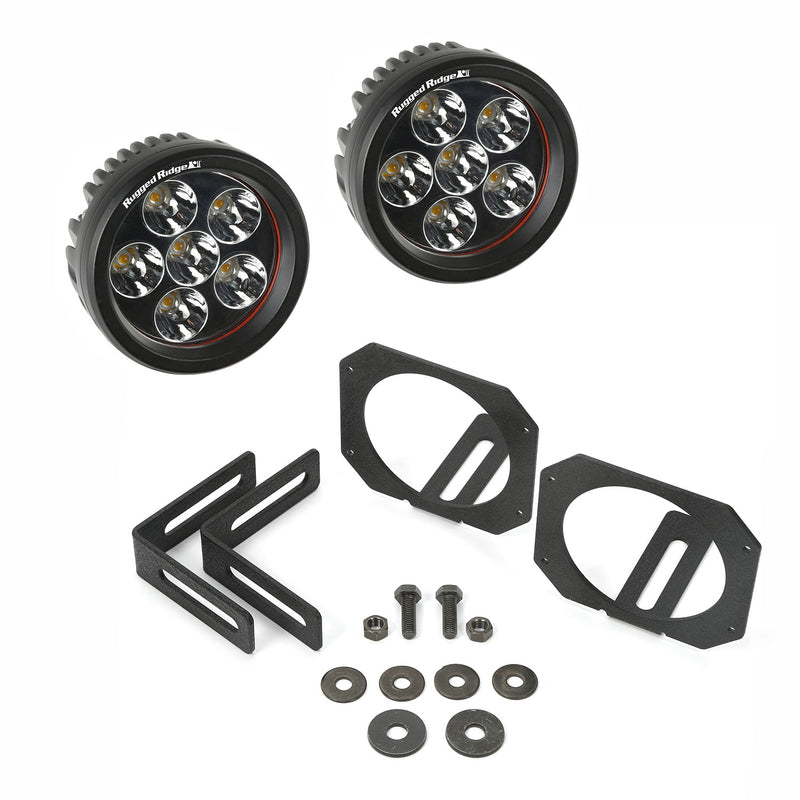 LED Light & Mount Kit, Circle by Rugged Ridge ('07-'18 Jeep Wrangler JK)