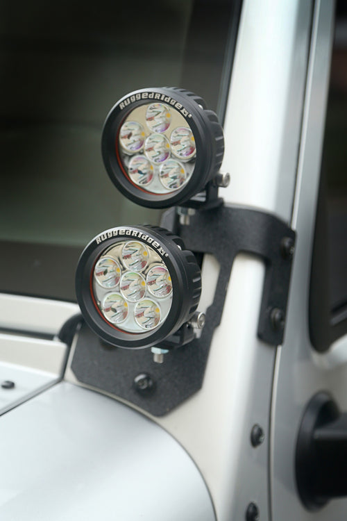 A Pillar Light Mount, Textured Black by Rugged Ridge ('07-'18 Wrangler JK) - Jeep World