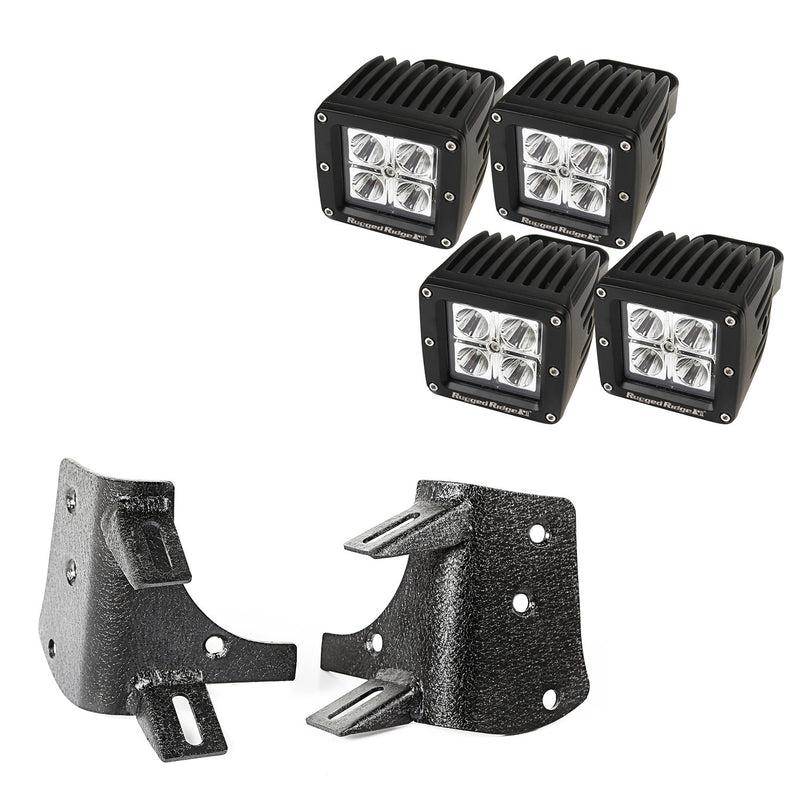 Dual A-Pillar LED Kit, 3-Inch Square Lights by Rugged Ridge ('97-'06 Jeep Wrangler TJ, LJ)