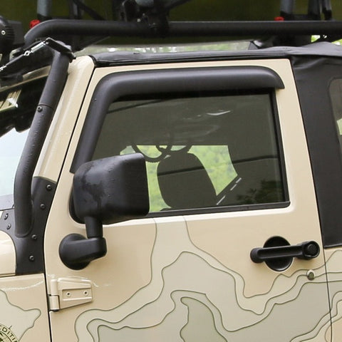 Window Visors, Matte Black, 4-Door by Rugged Ridge ('07-'18 Jeep Wrangler JK)