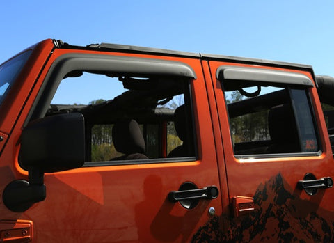 Window Visors, Matte Black, 2-Door by Rugged Ridge ('07-'18 Jeep Wrangler JK)