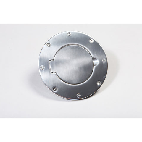 Non-Locking Gas Cap Door, Polished Aluminum by Rugged Ridge ('97-'06 Jeep Wrangler TJ)