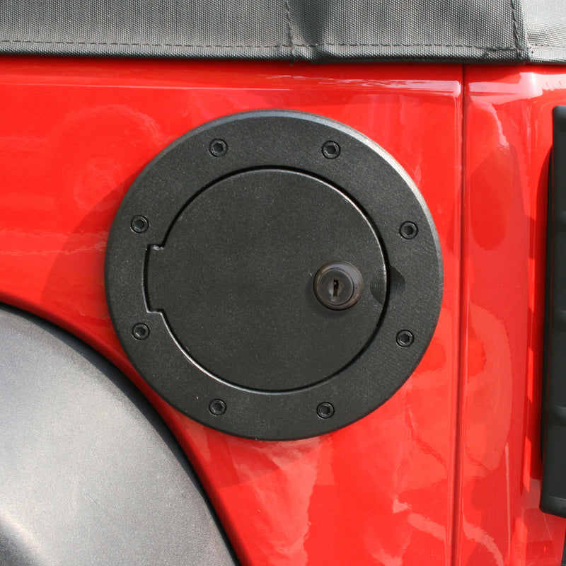 Locking Gas Cap Door, Black Aluminum by Rugged Ridge ('07-'18 Jeep Wrangler JK)