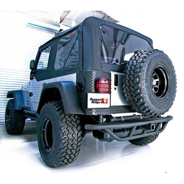RRC Rear Bumper, 2 Inch Receiver Hitch by Rugged Ridge ('87-'06 Jeep Wrangler YJ, TJ)
