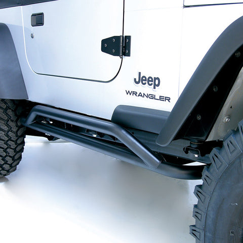 RRC Rocker Guards, Black by Rugged Ridge ('87-'06 Jeep Wrangler YJ, TJ)