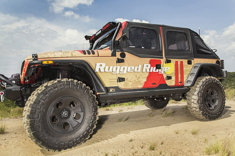 XHD Rock Sliders, Steel, 4 Door by Rugged Ridge ('07-'18 Wrangler JKU)