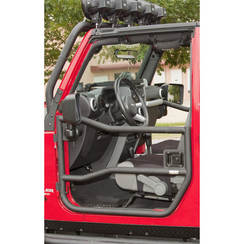 Front Tube Doors, Textured Black by Rugged Ridge ('07-'18 Jeep Wrangler JK)
