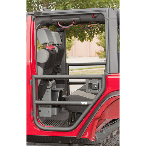Rear Tube Doors, Textured Black by Rugged Ridge ('07-'18 Jeep Wrangler JKU)