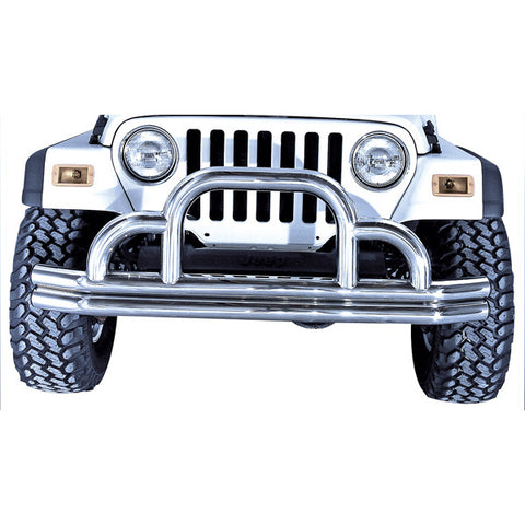 Defender Front Bumper, Stainless Steel by Rugged Ridge ('55-'06 Jeep Wrangler CJ, YJ, TJ)