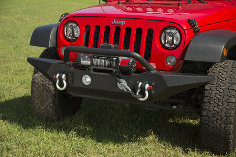 Spartan Front Bumper, Standard Ends, With Overrider by Rugged Ridge ('07-'18 Wrangler JK)