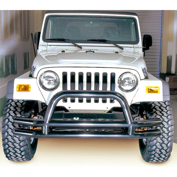 Double Tube Front Bumper w/ Hoop, 3 Inch by Rugged Ridge ('76-'06 Jeep Wrangler CJ, YJ, TJ)