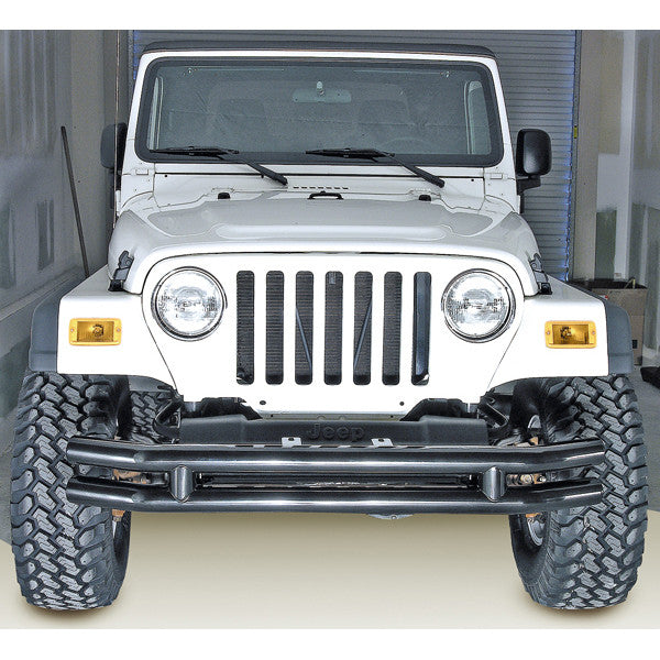 Double Tube Front Bumper, 3 Inch by Rugged Ridge ('76-'06 Jeep Wrangler CJ, YJ, TJ)