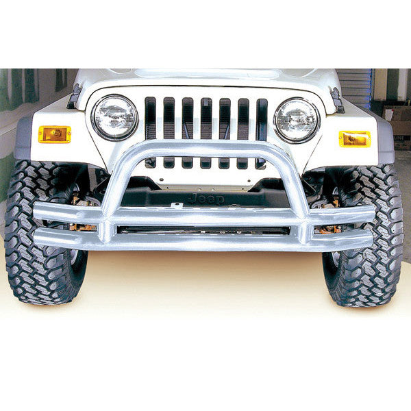 Double Tube Front Bumper, 3 Inch, Stainless Steel by Rugged Ridge ('76-'06 Jeep Wrangler CJ, YJ, TJ)