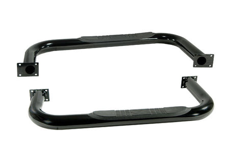 Round Tube Side Steps, 3 Inch, Black by Rugged Ridge ('87-'95 Wrangler YJ)