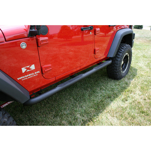 Round Tube Side Steps, 3 Inch, Textured Black by Rugged Ridge ('07-'17 Wrangler JKU)