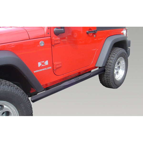 Oval Tube Side Steps, 4 1/4 Inch, Black by Rugged Ridge ('07-'18 Wrangler JK)