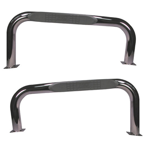 Round Tube Side Steps, 3 Inch, Stainless Steel by Rugged Ridge ('76-'83 Wrangler CJ)