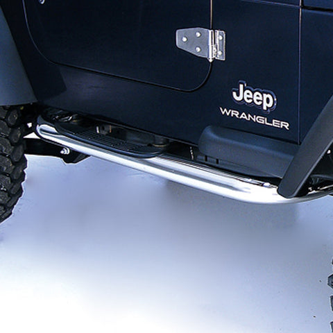 Round Tube Side Steps, 3 Inch, Stainless Steel by Rugged Ridge ('97-'06 Wrangler TJ)
