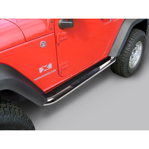 Round Tube Side Steps, 3 Inch, Stainless by Rugged Ridge ('07-'18 Wrangler JK)