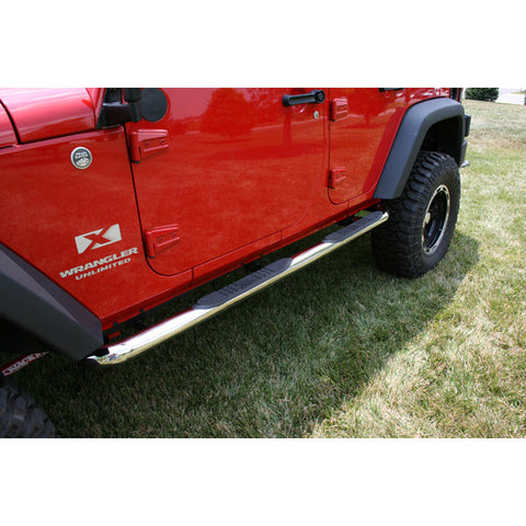 Round Tube Side Steps, 3 Inch, Stainless by Rugged Ridge ('07-'18 Wrangler JKU)