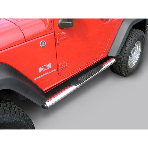 4 1/4 Inch Oval Side Steps, Stainless Steel by Rugged Ridge ('07-'18 Wrangler JK) - Jeep World