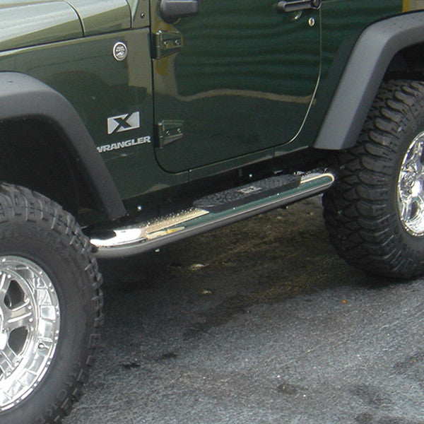 4 Inch Round Side Steps, Stainless Steel by Rugged Ridge ('07-'18 Wrangler JK) - Jeep World