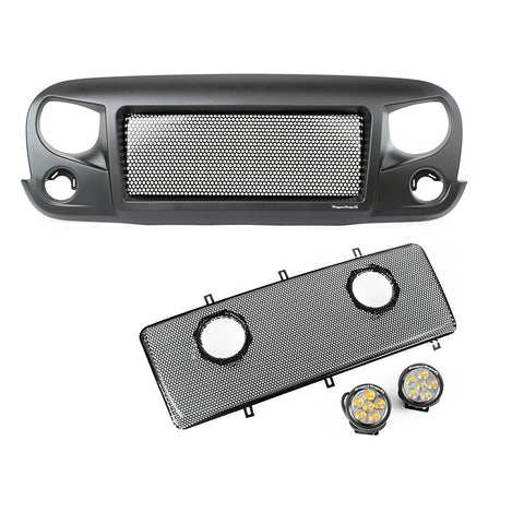 Spartan Grille Mesh Insert Kit w/ Round LED Driving Lights by Rugged Ridge ('07-'17 Wrangler JK)
