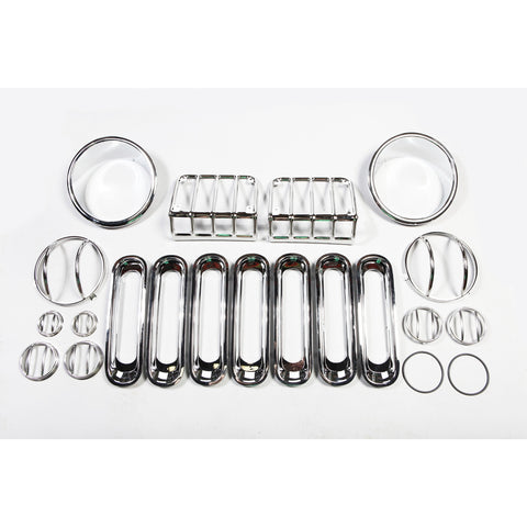 19 Piece Euro Guard Light Kit, Stainless Steel by Rugged Ridge ('07-'18 Jeep Wrangler JK)
