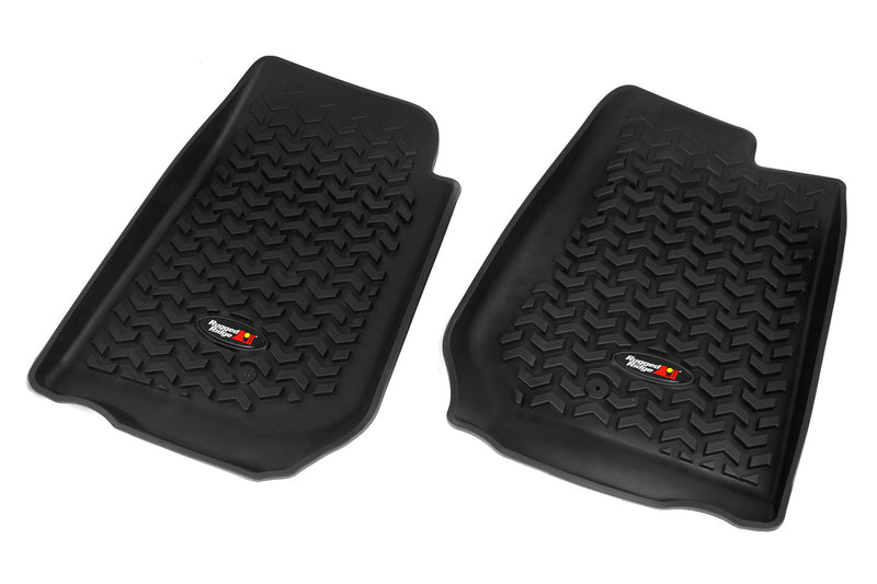 Floor Liners, Front, Black, RHD by Rugged Ridge ('07-'18 Jeep Wrangler JK)