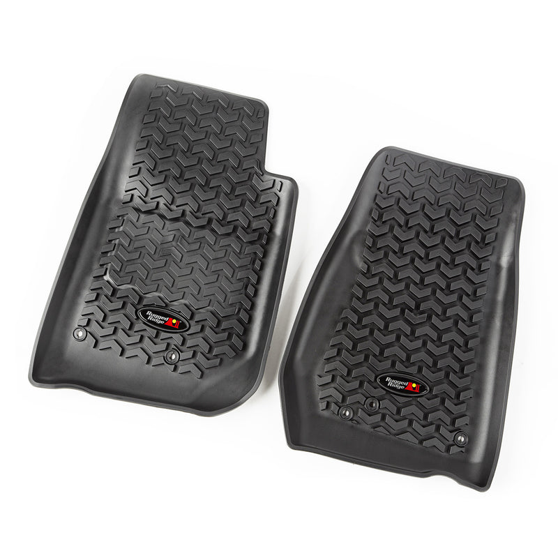 Floor Liners, Front, Black by Rugged Ridge ('07-'18 Jeep Wrangler JK)