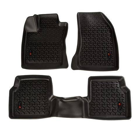ALL TERRAIN FLOOR LINER KIT, FRONT/REAR, BLACK; 18-19 JEEP COMPASS MP