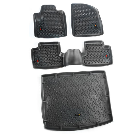 Floor Liners, Kit, Black, Front/Rear/Cargo by Rugged Ridge ('14-'18 Jeep Cherokee KL)