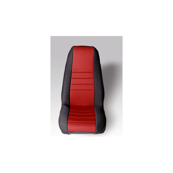 Neoprene Front Seat Covers, Red by Rugged Ridge ('76-'90 Jeep Wrangler CJ, YJ)