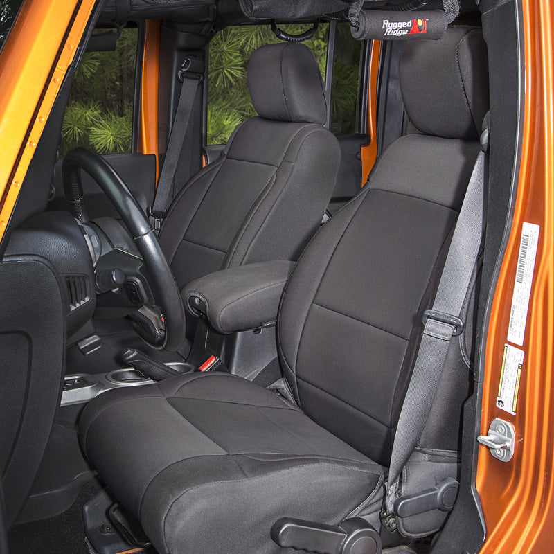 Neoprene Front Seat Covers, Black by Rugged Ridge ('11-'18 Jeep Wrangler JK)