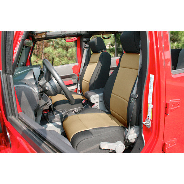 Neoprene Front Seat Covers, Black/Tan by Rugged Ridge ('11-'18 Jeep Wrangler JK)