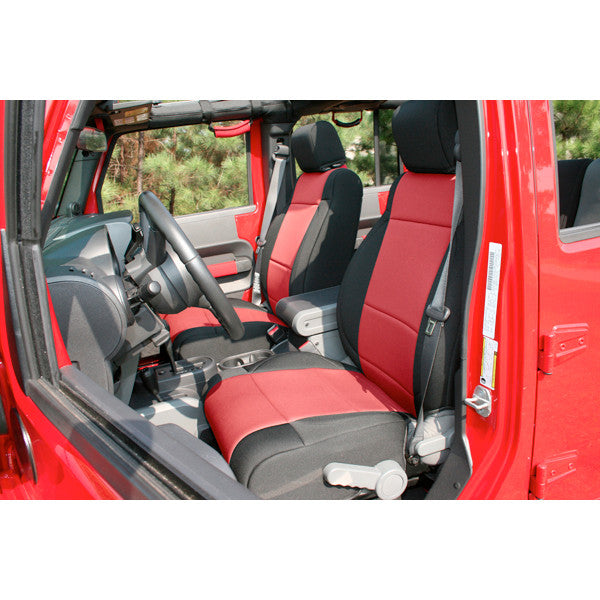Neoprene Front Seat Covers, Black/Red by Rugged Ridge ('11-'18 Jeep Wrangler JK)