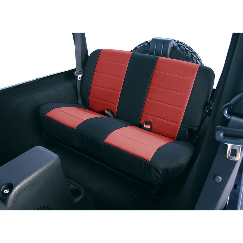 Neoprene Rear Seat Covers, Red by Rugged Ridge ('03-'06 Jeep Wrangler TJ)