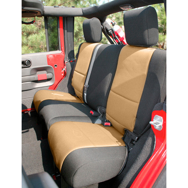Neoprene Rear Seat Cover, Black and Tan by Rugged Ridge ('07-'18 Jeep Wrangler JK)