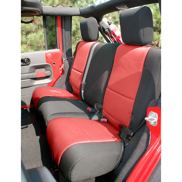 Neoprene Rear Seat Cover, Black/Red by Rugged Ridge ('07-'18 Jeep Wrangler JK 2 Door)