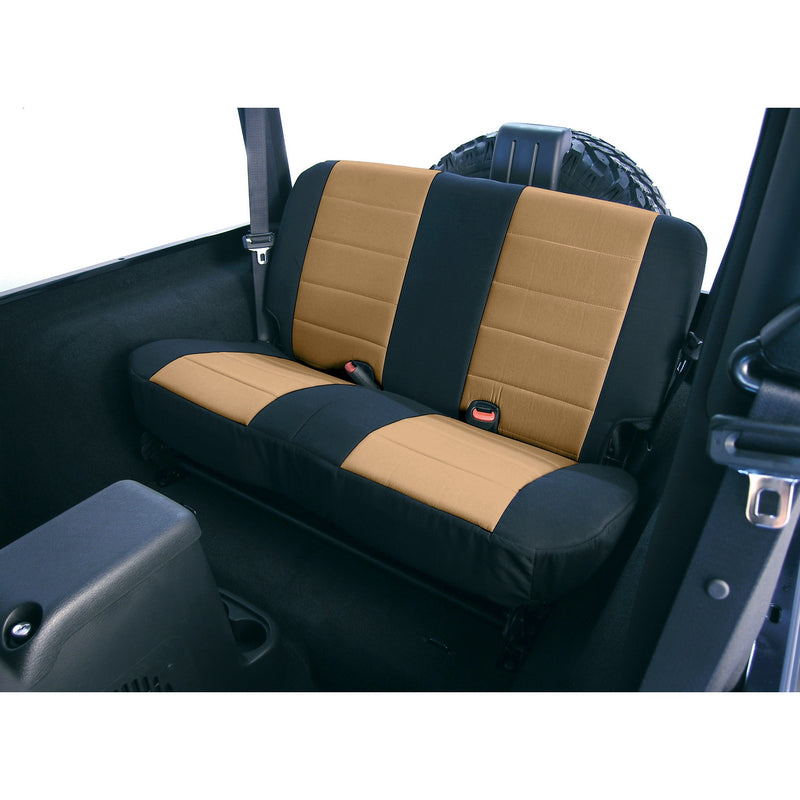 Fabric Rear Seat Covers, Tan by Rugged Ridge ('80-'95 Jeep Wrangler CJ, YJ)